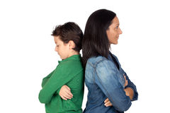Angry mother and. Son isolated on white background Stock Photo