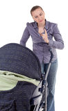 Angry mother with baby  buggy Royalty Free Stock Images