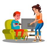 Angry Mother Cutting Wire Of Son Using Video Game Vector. Isolated Illustration. Angry Mother Cutting Wire Of Son Using Video Game Vector. Illustration royalty free illustration