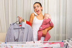 Angry mother doing everything Stock Image