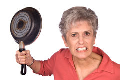 Angry mother and frying pan Stock Image