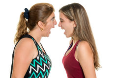 Angry mother and her teenage daughter yelling at each other stock photography