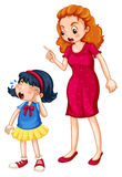 Angry mother shouting at crying daughter royalty free illustration