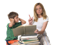 Angry mother trying to teach her son Royalty Free Stock Images