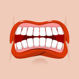 Angry mouth. aggressive emotion. Straseni grin. White teeth and red lips. Unhappy shout royalty free illustration