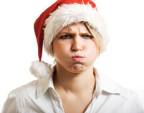 Angry Mrs Claus. Angry Mrs Claus blowing cheeks royalty free stock photography