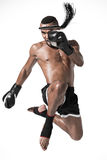 Angry muay thai fighter training isolated on white stock images
