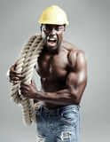 Angry muscular man Royalty Free Stock Image