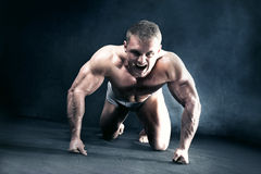 Angry muscular man. Royalty Free Stock Images
