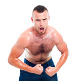 Angry muscular sports man Stock Photography