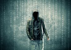 Angry mysterious hacker with numbers Stock Photo