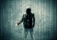 Angry mysterious hacker with numbers Royalty Free Stock Photo