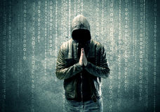 Angry mysterious hacker with numbers Royalty Free Stock Images