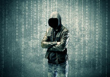 Angry mysterious hacker with numbers Royalty Free Stock Photography
