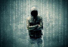 Angry mysterious hacker with numbers Royalty Free Stock Image