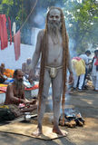 Angry Naga Sadhu or Nacked Monk Stock Images