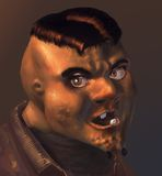 Angry but neat. A 3D rendering/illustration. Caricature of an angry face stock illustration