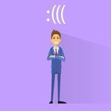 Angry negative emotion business man flat design Royalty Free Stock Photo