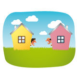 Angry neighbours cartoon Royalty Free Stock Images