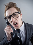 Angry nerd businessman Stock Photography