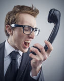 Angry nerd businessman Stock Photo
