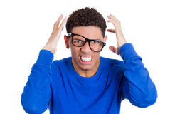 Angry nerdy man screaming in frustration Royalty Free Stock Image
