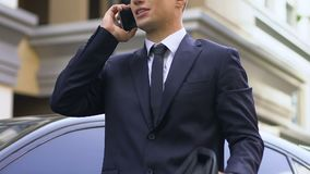 Angry nervous business man standing on street and arguing with partner on phone. Stock footage stock footage