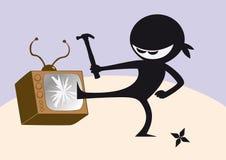 Angry ninja and broken television Stock Photos