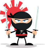 Angry Ninja Warrior Cartoon Mascot Character Stock Photography