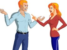 Angry Nordic Couple Having an Argument. Vector illustration of an angry Nordic couple having an intense argument with hand gestures Royalty Free Stock Photos