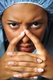 Angry nurse stock photo