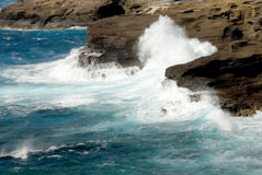 Angry Ocean. The angry ocean crashes into the black rocks on Oahu's east shore Royalty Free Stock Photos
