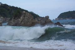 Angry Ocean. Photo of hurricane generated wave at Tangolunda Bay in Huatulco Mexico.  Hurricane was off the coast of Acapuclo 250 miles to the north but Royalty Free Stock Photos