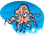 Angry octopus cartoon Stock Photo