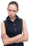 Angry offended woman looking at camera Stock Photography