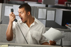 Angry Office Worker. Angry Latino office worker yells on phone Royalty Free Stock Photos