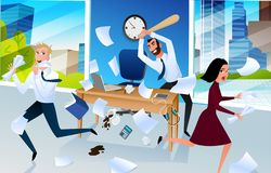 Angry Office Worker Goes Mad at Workplace Vector. Angry and Furious Boss Goes Mad and Crushing Workplace with Baseball Bat, Frightened Office Workers Running vector illustration