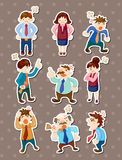 Angry office worker stickers. Cute cartoon vector illusttration Stock Images