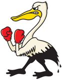 Angry Oil-soaked Pelican. Cartoon illustration of a pelican with boxing gloves with the lower half covered in oil from an oil spill Royalty Free Stock Photo