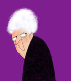 Angry Old Lady. Funny cartoon of a cranky old lady looking over her shoulder Royalty Free Stock Image