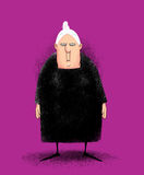 Angry Old Lady. Humorous illustration of a cranky peevish old lady in a black dress Stock Photo