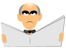 Angry old man reading the newspaper Stock Photography