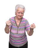 Angry old woman making fists Royalty Free Stock Photography