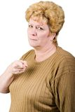 Angry older woman. Isolated on white stock images