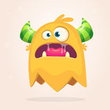 Angry orange cartoon monster with horns. Big collection of cute monsters. Halloween character. Vector illustration. S. Good for book illustration, magazine Royalty Free Stock Photography