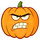 Angry Orange Pumpkin Vegetables Cartoon Emoji Face Character With Grumpy Expression Stock Image