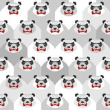 Angry Panda. Seamless  pattern of ferocious bears. Vector Stock Photo