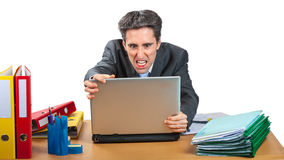 Angry PC User. PC user is very angry about his computer Stock Images