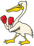 Angry Pelican. Cartoon illustration of an aggressive pelican with boxing gloves Royalty Free Stock Photos