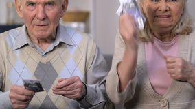 Angry pensioners counting last money, mad at government for social insecurity. Stock footage stock video
